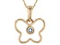 Blue Aquamarine 10k Yellow Gold Children's Butterfly Pendant With Chain .03ct