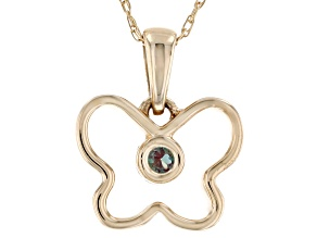 Teal Lab Created Alexandrite 10k Yellow Gold Child's Butterfly Pendant With Chain .03ct