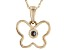 Teal Lab Created Alexandrite 10k Yellow Gold Children's Butterfly Pendant With Chain .03ct