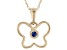 Blue Sapphire 10k Yellow Gold Child's Butterfly Pendant With Chain .03ct