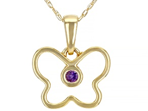 Purple African Amethyst 10k Yellow Gold Child's Butterfly Pendant With Chain .03ct