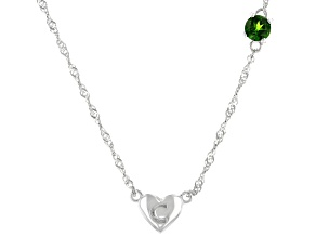 Green Chrome Diopside Rhodium Over Silver Heart
