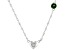 "Green Chrome Diopside Rhodium Over Silver Heart ""C"" Children's Necklace .23ct"