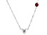 "Red Mahaleo(R) Ruby Rhodium Over Silver Heart ""A"" Children's Necklace .34ct"