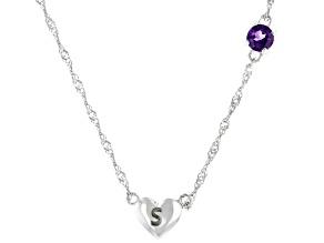 Purple Amethyst Rhodium Over Silver Heart S Children's Necklace