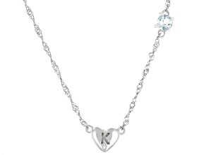 Blue Aquamarine Rhodium Over Silver Heart