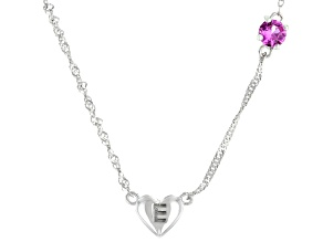 Pink Lab Created Sapphire Rhodium Over Silver Heart E Children's Necklace .26ct
