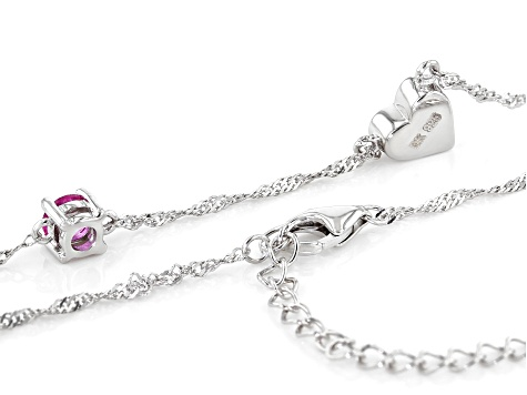 "Pink Lab Created Sapphire Rhodium Over Silver Heart ""E"" Children's Necklace .26ct"