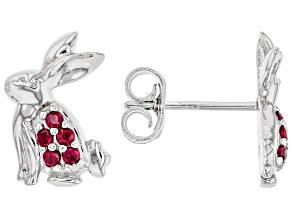 Round Lab Created Ruby Rhodium Over Silver Children's Bunny Earrings. 0.18ctw