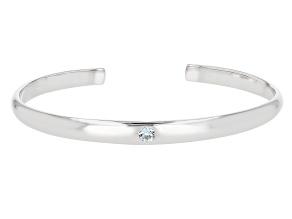Blue Topaz Rhodium Over Sterling Silver Children's Cuff Bracelet 0.11ct