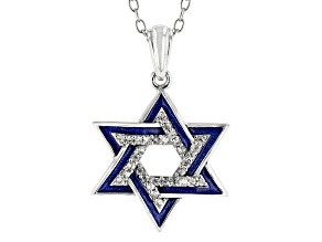 White Zircon Rhodium Over Silver Children's Star of David Pendant With Chain 0.08ctw