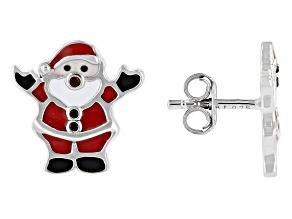 Red Garnet, Black Spinel & Multi-Color Enamel Rhodium Over Silver Children's Santa Earrings .02ctw