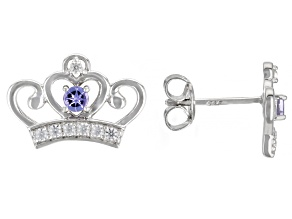 Blue Tanzanite Rhodium Over Sterling Silver Children's Stud Crown Earrings 0.48ctw