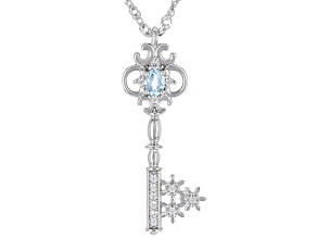 Sky Blue Topaz Rhodium Over Silver Children's Pendant with Chain .29ctw