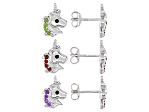 Green Chrome Diopside Rhodium Over Sterling Silver Unicorn Set Of 3 Children's Earrings 0.47ctw