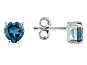 London Blue Topaz Rhodium Over Silver Children's Stud Earrings .94ctw
