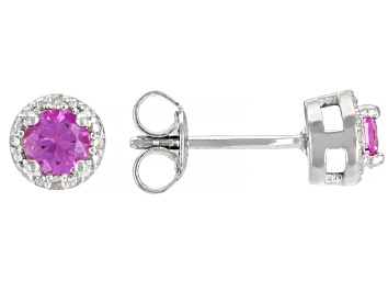 Picture of Pink Lab Created Sapphire Rhodium Over Sterling Silver Children's Earrings 0.64ctw