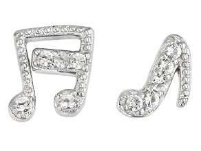 White Topaz Rhodium Over Sterling Silver Music Note Earrings .04ctw