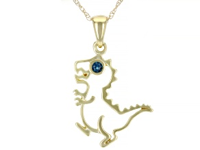 London Blue Topaz 10k Yellow Gold Children's Dinosaur Pendant With Chain 0.03ct