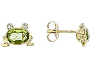 Green Peridot 10k Yellow Gold Children's Frog Stud Earrings 0.86ctw
