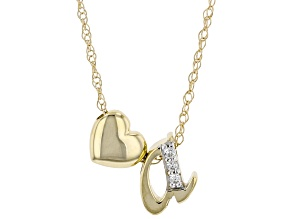 "White Zircon 10k Yellow Gold Children's Inital ""A""Necklace. 0.02ctw"