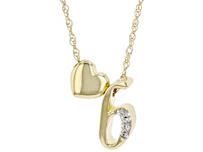 "White Zircon 10k Yellow Gold Children's Inital ""B""Necklace 0.02ctw"
