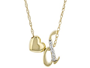 "White Zircon 10k Yellow Gold Children's Inital ""D""Necklace 0.03ctw"