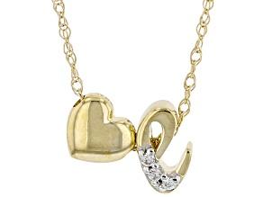 "White Zircon 10k Yellow Gold Children's Inital ""E"" Necklace 0.02ctw"