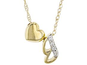 "White Zircon 10k Yellow Gold Children's Inital ""G"" Necklace 0.02ctw"