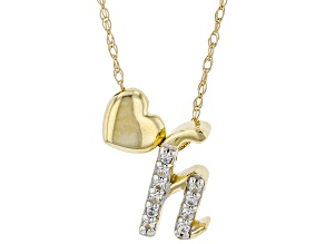 "White Zircon 10k Yellow Gold Children's Inital ""H"" Necklace. 0.06ctw"
