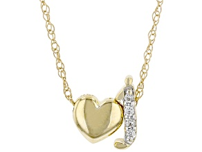 "White Zircon 10k Yellow Gold Children's Inital ""J"" Necklace. 0.02ctw"