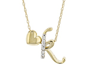 "White Zircon 10k Yellow Gold Children's Inital ""K"" Necklace 0.03ctw"