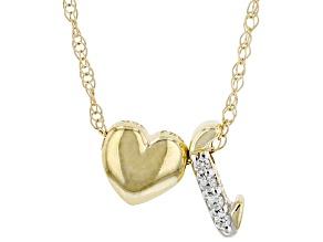 "White Zircon 10k Yellow Gold Children's Inital ""L"" Necklace 0.02ctw"