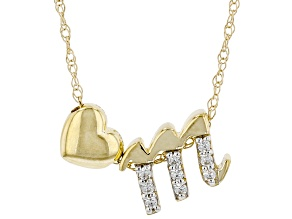 "White Zircon 10k Yellow Gold Children's Inital ""M""Necklace. 0.22ctw"