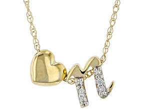 "White Zircon 10k Yellow Gold Children's Inital ""N"" Necklace 0.03ctw"