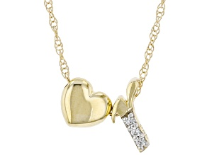 "White Zircon 10k Yellow Gold Children's Inital ""R"" Necklace 0.02ctw"