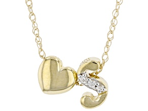 "White Zircon 10k Yellow Gold Children's Inital ""S"" Necklace. 0.02ctw"