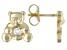 Blue Aquamarine 10k Yellow Gold Children's Teddy Bear Stud Earrings .05ctw