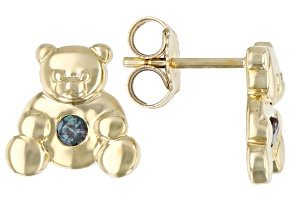 Blue Lab Created Alexandrite 10k Yellow Gold Children's Teddy Bear Stud Earrings .07ctw