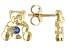 Blue Sapphire 10k Yellow Gold Children's Teddy Bear Stud Earrings .09ctw