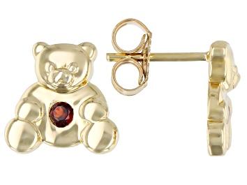 Picture of Red Garnet 10k Yellow Gold Children's Teddy Bear Stud Earrings .09ctw