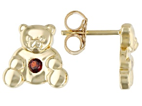 Red Garnet 10k Yellow Gold Children's Teddy Bear Stud Earrings .09ctw
