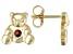 Red Garnet 10k Yellow Gold Children's Teddy Bear Stud Earrings .09ctw