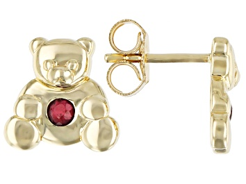 Picture of Red Mahaleo(R) Ruby 10k Yellow Gold Children's Teddy Bear Stud Earrings .09ctw