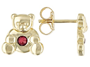 Red Mahaleo(R) Ruby 10k Yellow Gold Children's Teddy Bear Stud Earrings .09ctw