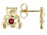 Red Mahaleo(R) Ruby 10k Yellow Gold Children's Teddy Bear Stud Earrings .09ctw