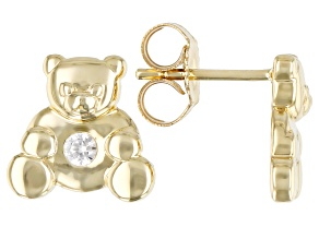 White Zircon 10k Yellow Gold Children's Teddy Bear Stud Earrings .10ctw
