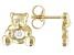 White Zircon 10k Yellow Gold Children's Teddy Bear Stud Earrings .10ctw