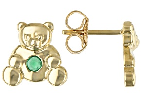 Green Emerald 10k Yellow Gold Children's Teddy Bear Stud Earrings .07ctw