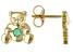 Green Emerald 10k Yellow Gold Children's Teddy Bear Stud Earrings .07ctw